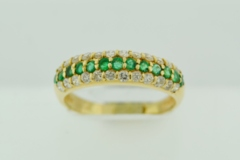 Pavé Emerald and Diamond Band, in 14k Yellow Gold