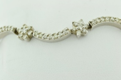 Wavy Diamond Flower Style Bracelet, Set in 14k White Gold