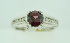 Neo-Vintage Garnet Ring, with Round Diamonds Set in 14k White Gold
