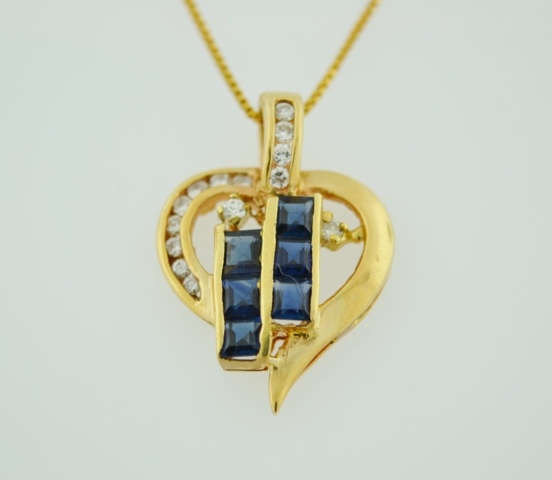 Sapphire and Diamond Heart Pendant, Set in 14k Yellow Gold