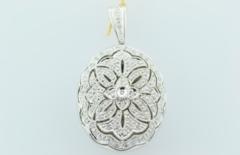 Diamond Locket Pendant, Set in 14k White Gold