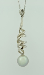Pearl Twist Pend, Set in White Gold