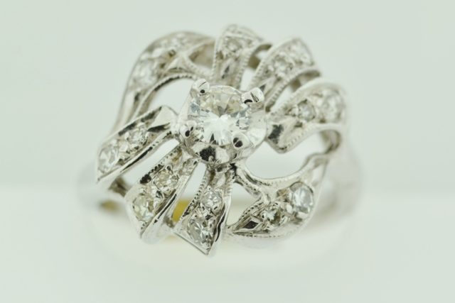 Diamond Ring with Milgrain Finish, in 14k White Gold