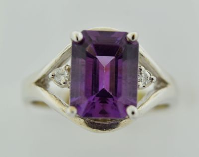 Amethyst and Diamond Ring,  in 14k White Gold