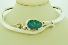 Hinged Sterling Silver Mosaic Opal with Diamond Necklace