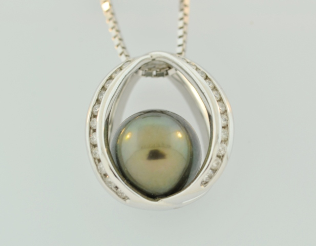 Tahitian Pearl Pendant, with Round Diamonds Set in 14k White Gold