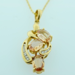 Precious Topaz and Diamond Pendant, Set in 14k Yellow Gold