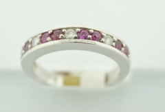 Ruby and Diamond Band,  in 14k White Gold