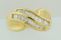 Baguette Diamond Channel Band, Set in 14k Yellow Gold