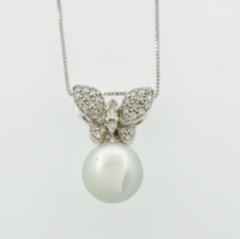 Butterfly Pearl Pendant, with Round Diamonds Set in 14k White Gold