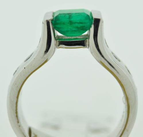 Muzo Emerald and Diamond Ring, Set in 14k White Gold