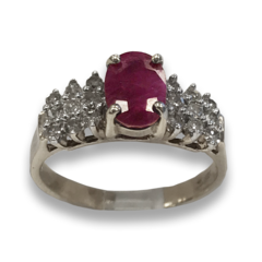 Ruby and Diamond Ring in 10k Yellow Gold