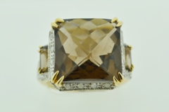 Smokey Quartz and Diamond Ring,  in 14k Two Tone Gold