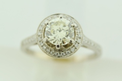 Beautiful Diamond Engagement Ring with Halo, in 18k White Gold