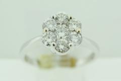 Cluster Round Diamond Ring, Set in 14k White Gold