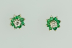 Emerald and Diamond Earrings in 14k White Gold