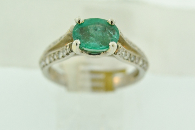 Oval Emerald and Diamond Ring, in 14k White Gold