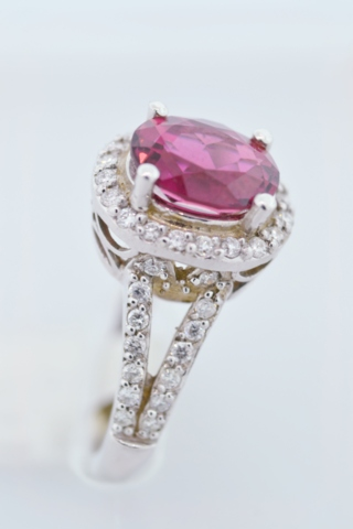 Rubellite and Diamond Ring, Set in 14k White gold