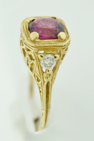Ruby and Diamond Ring, in 14k Yellow Gold