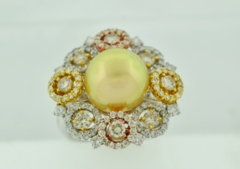 Golden Pearl and Diamond Ring, Set in 18k Tri-Colored Gold