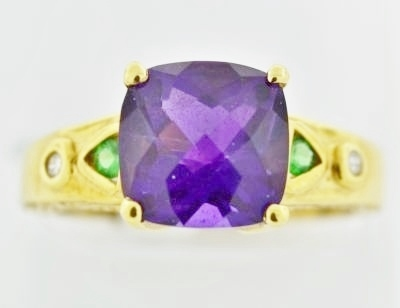 Amethyst and Tsavorite Ring with Round Brilliant cut Diamonds in 14k Yellow Gold
