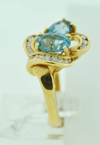 Blue Topaz Ring with Diamonds in 14k Yellow Gold