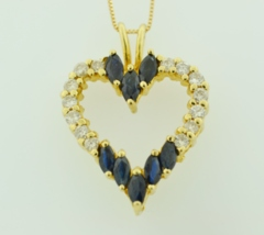 Blue Sapphire and Diamond Heart Pendant, Set in 14k Yellow Gold