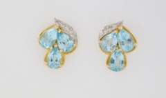 Blue Topaz Earrings, with Round Diamonds Set in 14k Two Tone Gold
