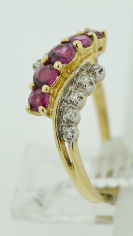 Natural Ruby and Diamond Ring, in 14k Two Tone Gold
