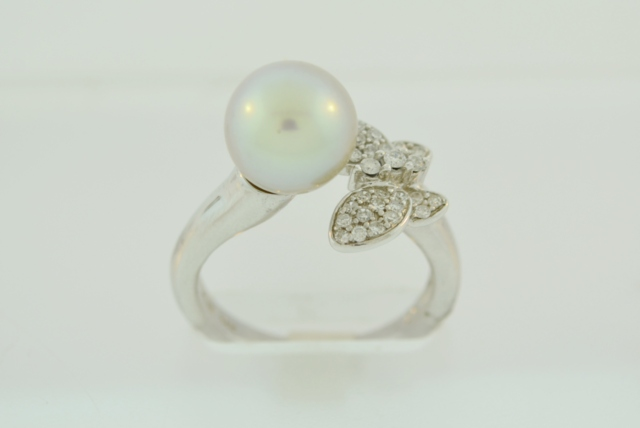 Silver Pearl and Diamond Ring,  in 14k White Gold