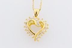 Diamond Heart Pendant, Set in 14k Yellow Gold