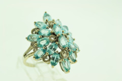 Sterling Silver Synthetic Blue Topaz Ring