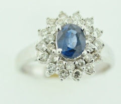 Ballerina Style Sapphire Ring, with Round Brilliant-cut Diamonds Set in 14k White Gold