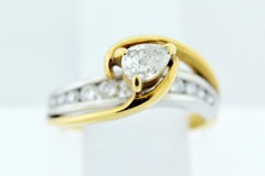 Passover Style Diamond Engagement Ring, Set in 18k Two Tone Gold
