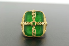 Manmade Jade Ring in Vermeil