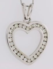 Diamond Channel Heart Pendant, Set in 14k White Gold