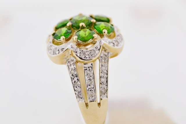 Chrome Diopside and Diamond Ring in 10k Two Tone Gold