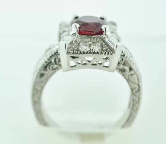 Natural Ruby and Diamond Ring, Set in 14k White Gold