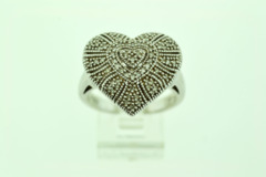 Heart-Shaped Sterling Silver Ring with 65 Diamond Accents