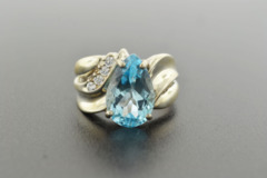 Blue Topaz with 4 Diamond Ring, Set in Sterling Silver