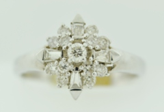 Diamond Cluster Ring, in 14k White Gold
