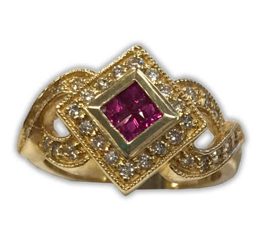 Neo-Vintage Ruby and Diamond Ring, in 14k Yellow Gold