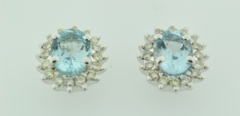 Aquamarine and Diamond Studs in 14k White Gold