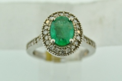 Emerald and Diamond Halo Ring, with Milgrain Finish in 14k White Gold