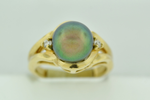 Black/Rainbow Pearl Ring, with Round Diamonds Set in 14k Yellow Gold