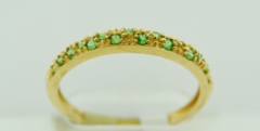 Tsavorite Garnet and Diamond Band, in 14k Yellow Gold