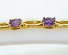 Oval Amethyst Bracelet, in 14k Yellow Gold