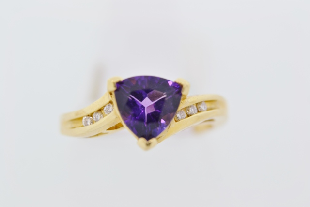 Amethyst and Diamond Ring, Set in 14k Yellow Gold