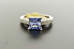 Synthetic Tanzanite with Diamonds Set in Sterling Silver Ring
