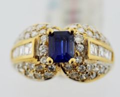 Natural Ceylon Sapphire Ring, w/Diamonds Set in 18k Yellow Gold